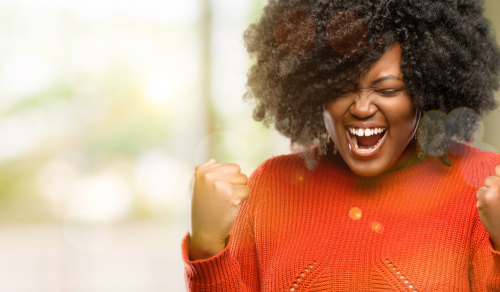 Woman celebrates her little victories