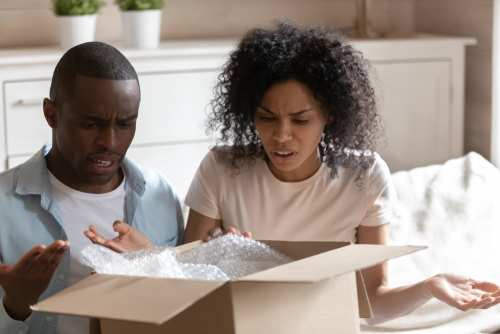 Couple opens package and is disappointed